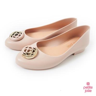 Petite Jolie-雙色金屬感LOGO果凍娃娃鞋-粉膚
