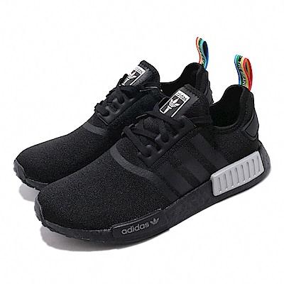 adidas 休閒鞋 NMD R1 襪套式 男女鞋 愛迪達 三葉草 緩震 Boost 情侶穿搭 黑 彩 Q47261