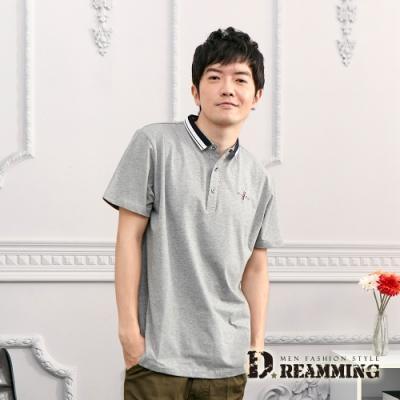 Dreamming 百搭休閒素面萊卡彈力短POLO衫-共二色