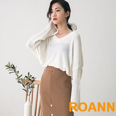 百搭款透膚V領寬鬆針織上衣 (共二色)-ROANN