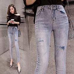 顯瘦高腰鉛筆牛仔褲S-XL-WHATDAY