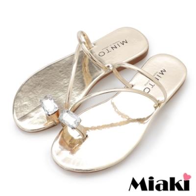 Miaki-涼鞋金屬時尚平底涼拖-金