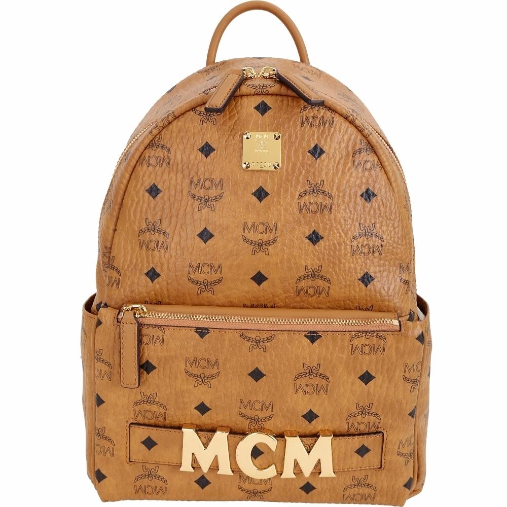 MCM Trilogie 經典塗層帆布皮革後背包(附可拆鍊帶提包/白蘭地色)