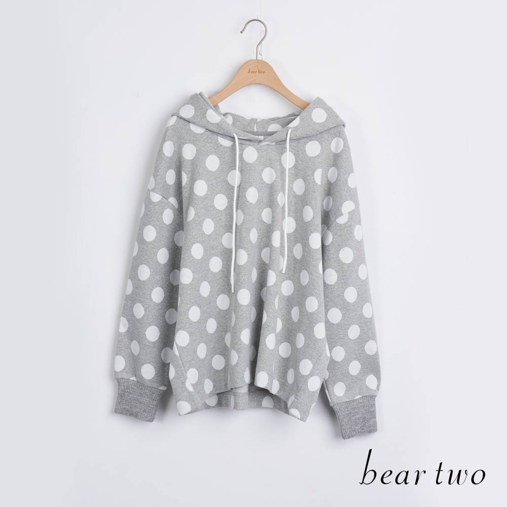 bear two- 波卡圓點帽T - 灰