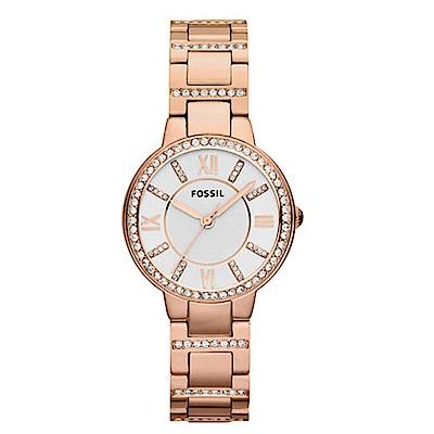 FOSSIL 名媛璀璨設計時尚腕錶(ES3284)-白x玫瑰金/30mm