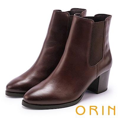 ORIN 經典復古 素面俐落彈力鬆緊粗高跟短靴-咖啡
