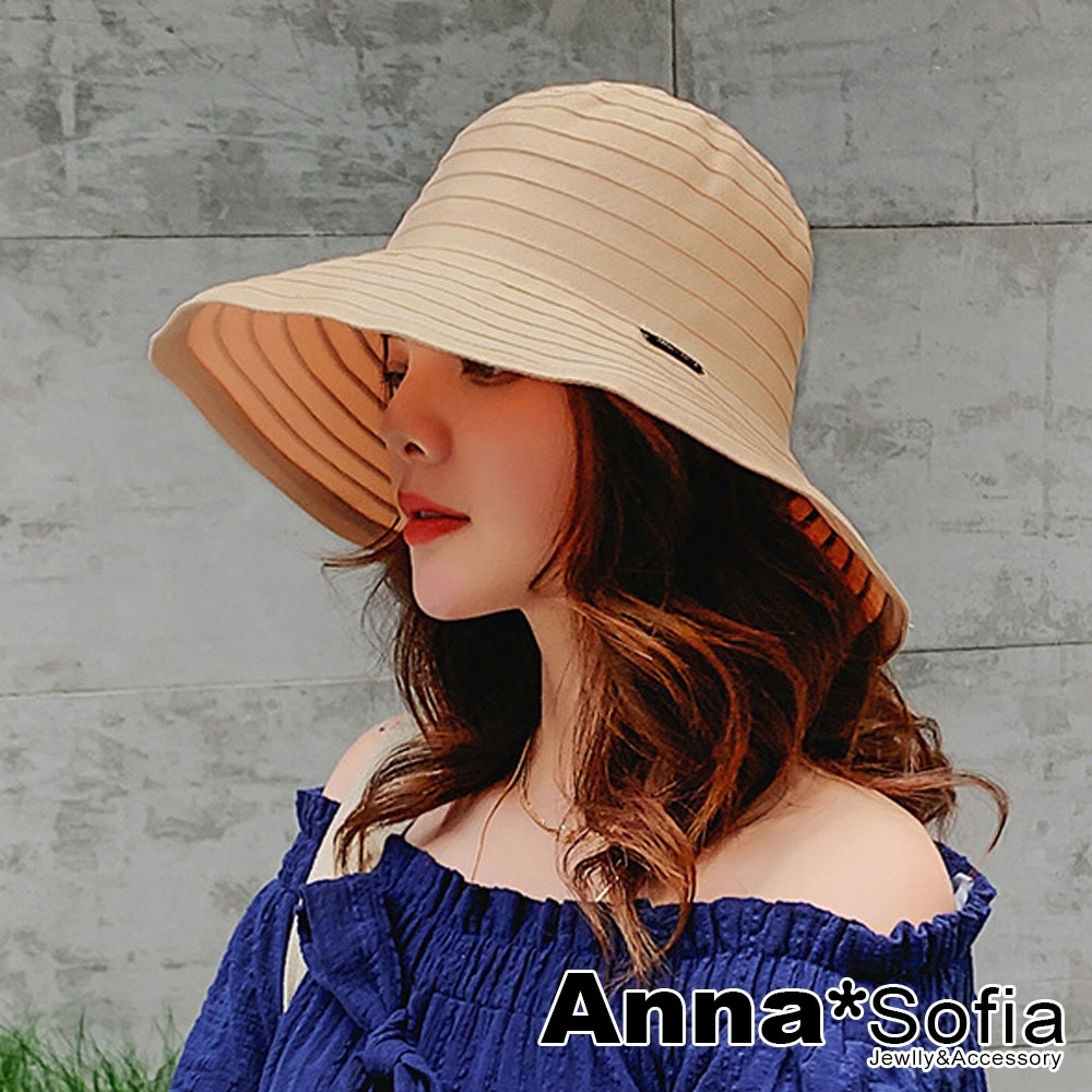 AnnaSofia 圈層織黑標寬簷 棉麻遮陽防曬漁夫帽(黃駝系)