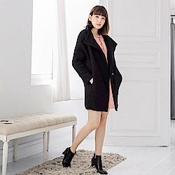 質感毛呢袖配色翻領單釦大衣/外套-OB大尺碼