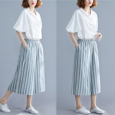 【韓國K.W.】爆推完美曲線自然條紋簡約百搭休閒褲