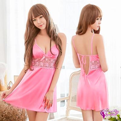 Sexy Cynthia俏麗粉紅色柔緞美背造型性感睡衣-粉F
