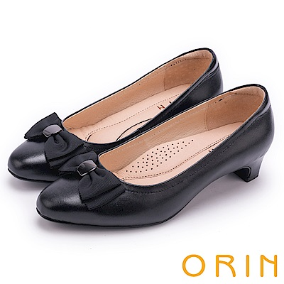 ORIN 優雅甜美系 織帶蝴蝶結妝點羊皮中跟鞋-黑色