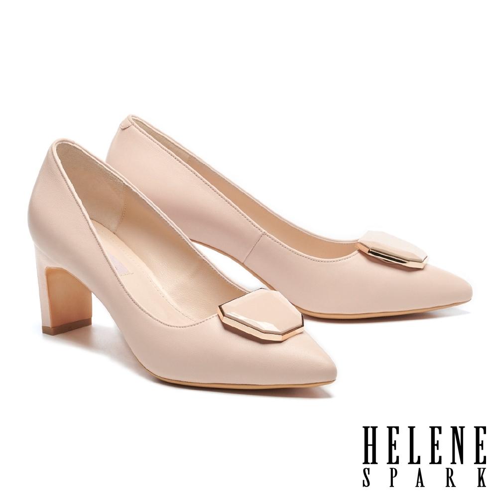 高跟鞋 HELENE SPARK 知性典雅鏡面烤漆飾釦尖頭高跟鞋-粉