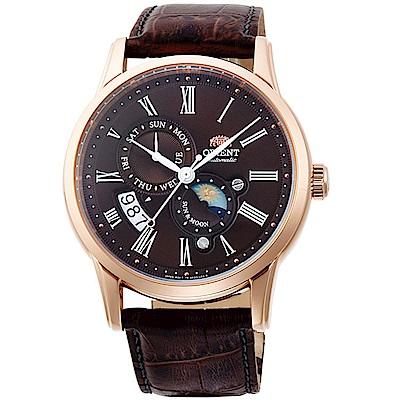 ORIENT東方錶SUN&MOON系列日月相腕錶(SAK00003T)-咖啡