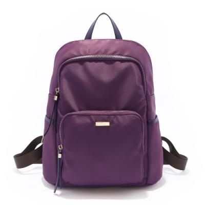ANNA DOLLY 經典實用尼龍後背包-大版 成熟深紫