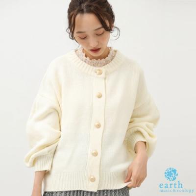 earth music 復古感金屬扭扣設計落肩蓬袖開襟罩衫