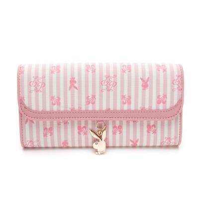PLAYBOY- 翻蓋長夾 龐克兔系列-粉色