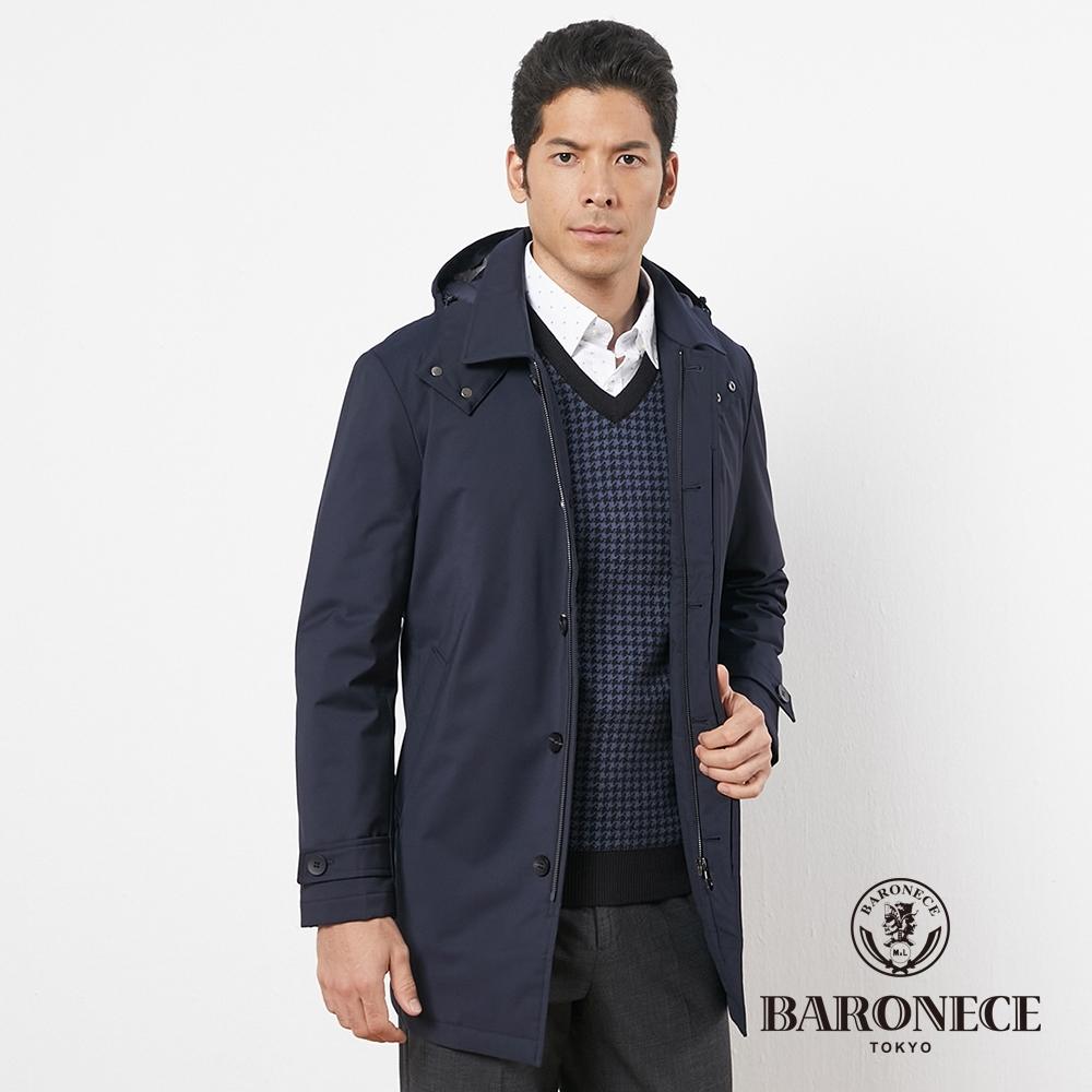 BARONECE 百諾禮士休閒商務 男裝 進口材質長版風衣式外套--深藍色(1196702-39)