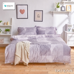 DUYAN竹漾-100%頂級萊塞爾天絲-雙人四件式舖棉兩用被床包組-琉璃淺夢