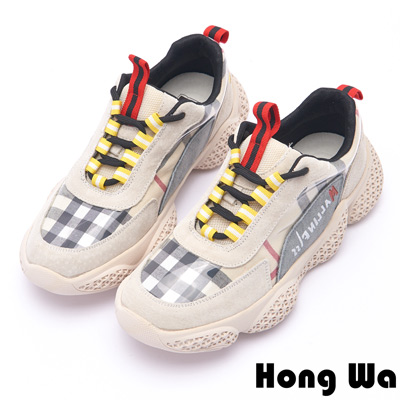 Hong Wa 復古菱格紋布拼接牛麂皮老爹鞋 - 米
