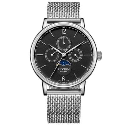 RHYTHM 日本麗聲 都會時尚日月相日期手錶-40mm FI1608S02