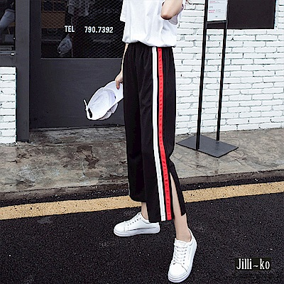 Jilli-ko 雙配色邊條開衩休閒褲- 紅白條/橘白條