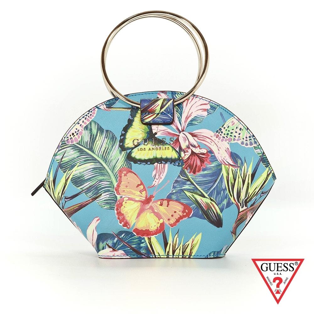 GUESS-女包-繽紛花卉印花手提包-藍