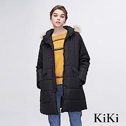 KiKi INLook 長版保暖素色連帽毛領大衣(黑色)