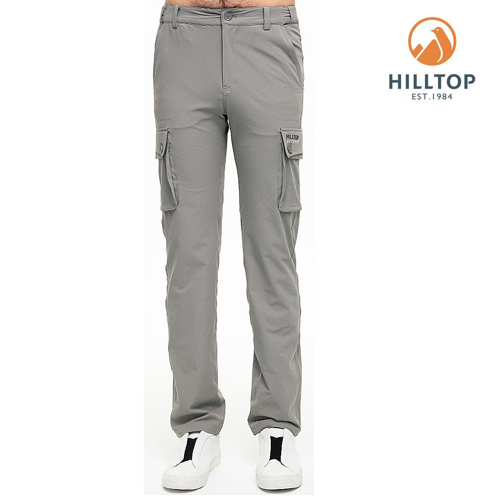 【hilltop山頂鳥】男款超潑水抗UV彈性長褲S07MC3法蘭絨灰