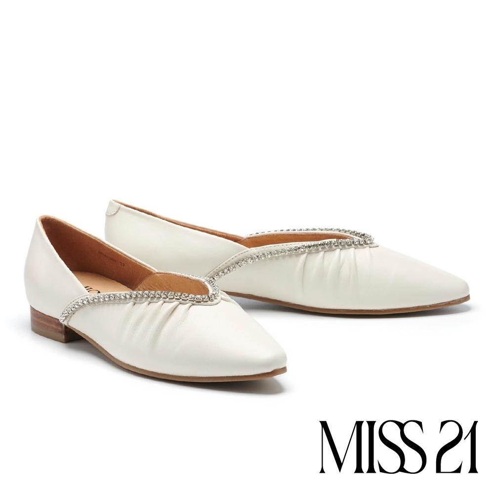 低跟鞋 MISS 21 別致氣質水鑽鍊條羊皮尖頭低跟鞋-白