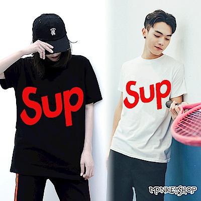 Monkey Shop 男女情侶潮感SUP紅字印花棉質圓領短袖T恤-2色