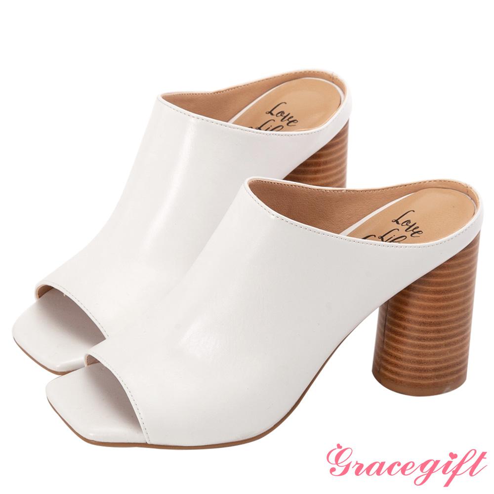 Grace gift X Kerina-聯名歐美簡約魚口高跟涼鞋 白