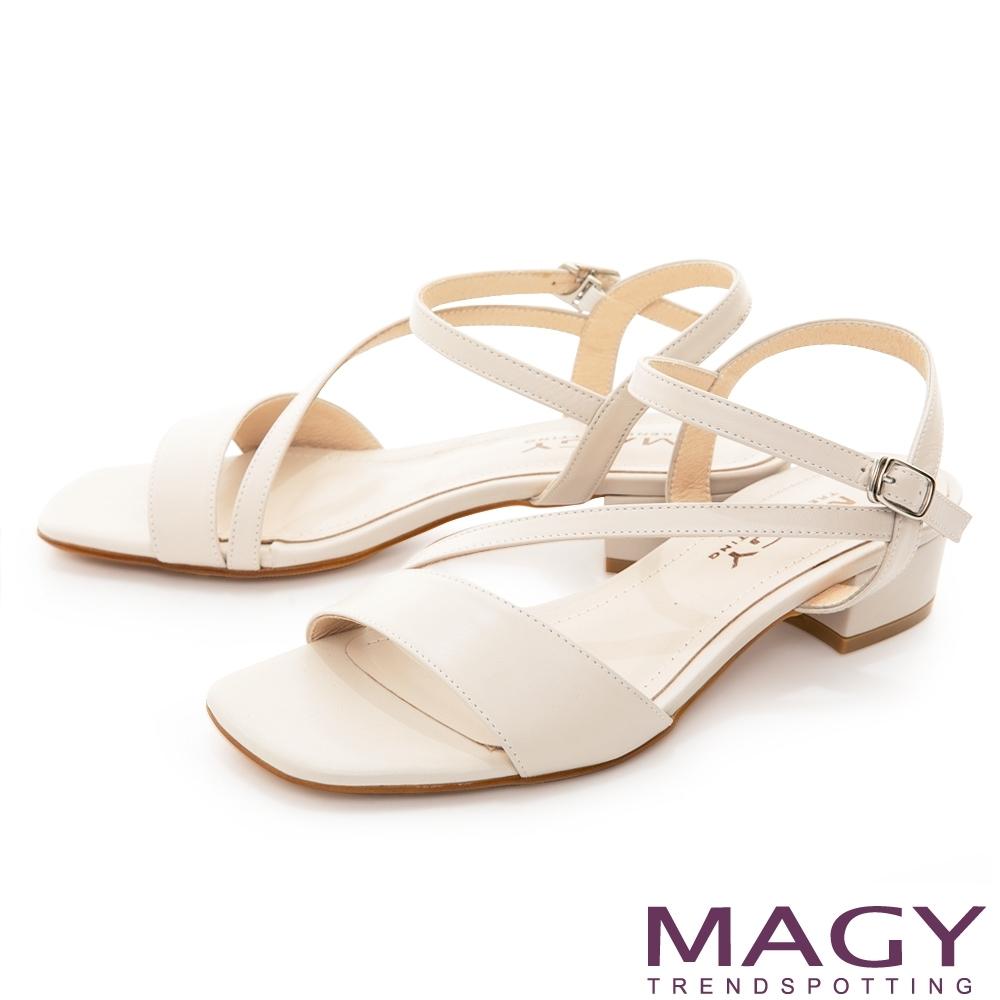 MAGY 經典斜邊細帶真皮低跟 女 涼鞋 米色