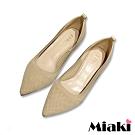 Miaki-高跟鞋小資嚴選針織尖頭鞋-米