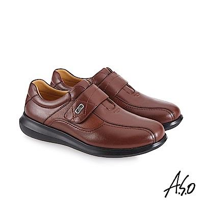 A.S.O機能休閒 萬步健康鞋 魔鬼黏款商務休閒鞋-茶