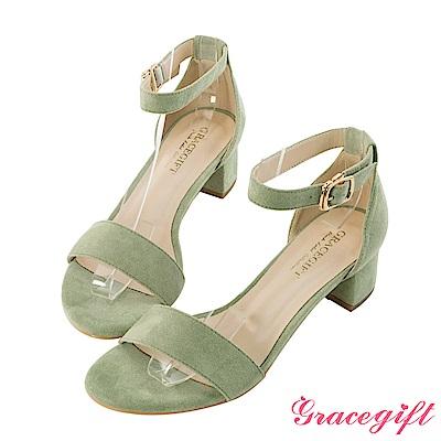 Grace gift-絨布一字中跟涼鞋 青綠