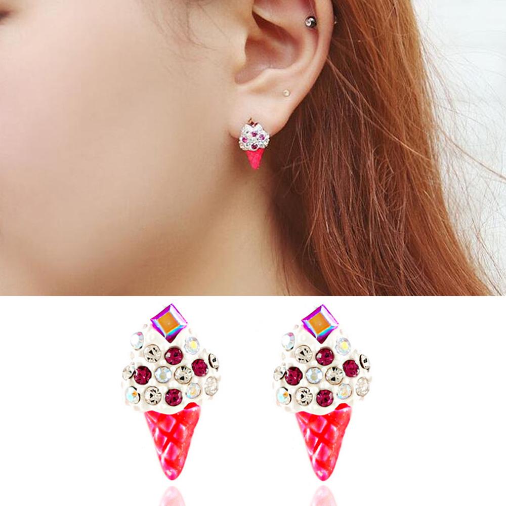 梨花HaNA 韓國清涼俏皮寶石鑲飾冰淇淋可愛耳環耳針/耳夾選