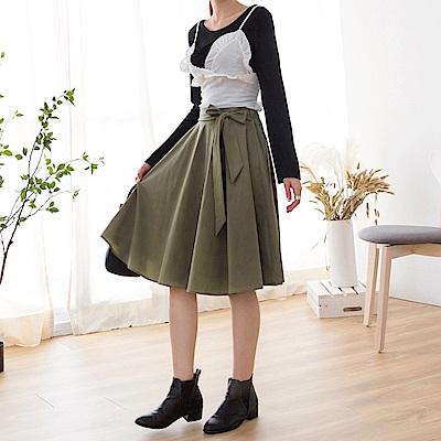 褲頭蝴蝶結綁帶後鬆緊質感傘狀中裙.2色-OB大尺碼