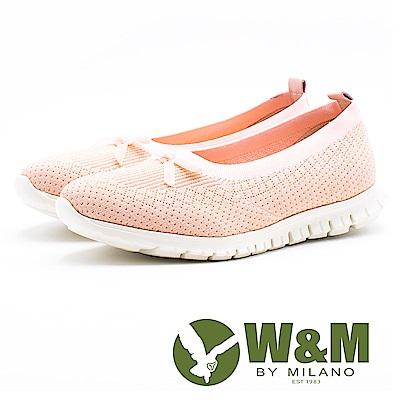 W&M 免綁帶蝴蝶結彈力休閒女鞋-粉(另有黑)