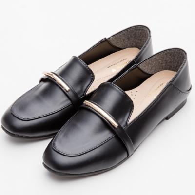 River&Moon樂福鞋-MIT百搭可二穿乳膠釋壓平底鞋 黑