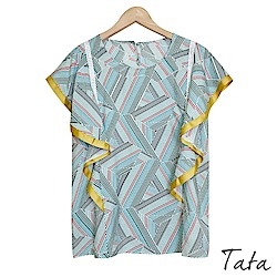 撞色荷葉袖幾何條紋上衣 共二色 TATA
