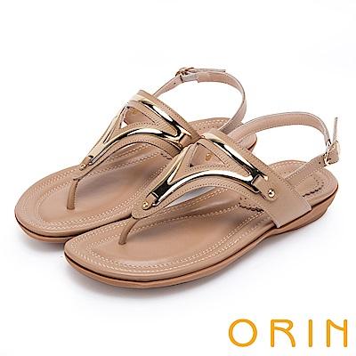 ORIN 夏日時尚風 金屬飾條牛皮夾腳涼鞋-棕色