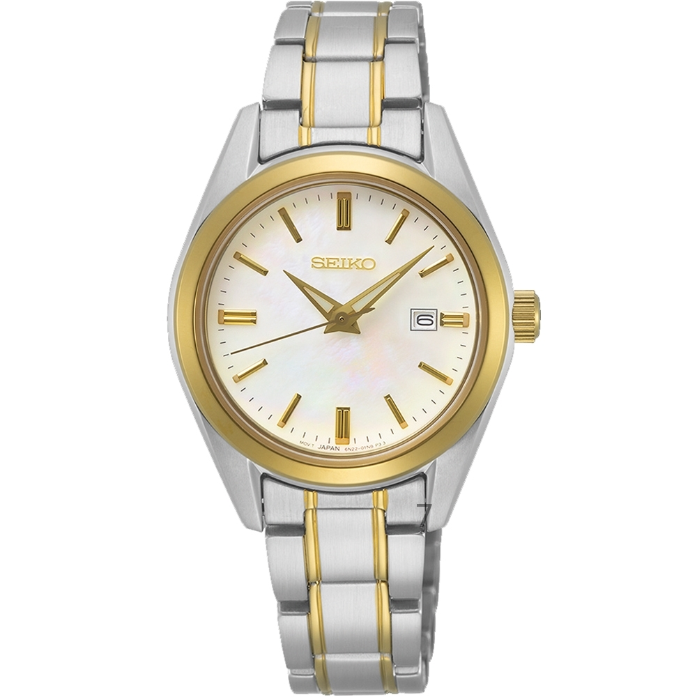 SEIKO精工典雅大方簡約時尚腕錶(SUR636P1)-金色x銀色/30mm
