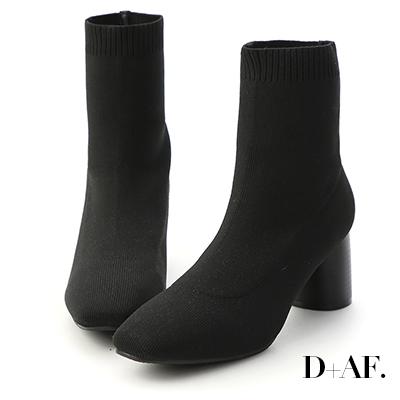 D+AF 典藏印象.彈力針織木紋圓跟襪靴*黑