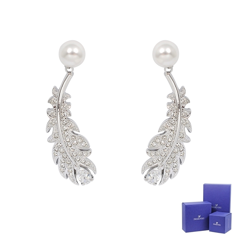 SWAROVSKI 施華洛世奇 NICE璀燦水晶珍珠羽毛造型銀色耳環