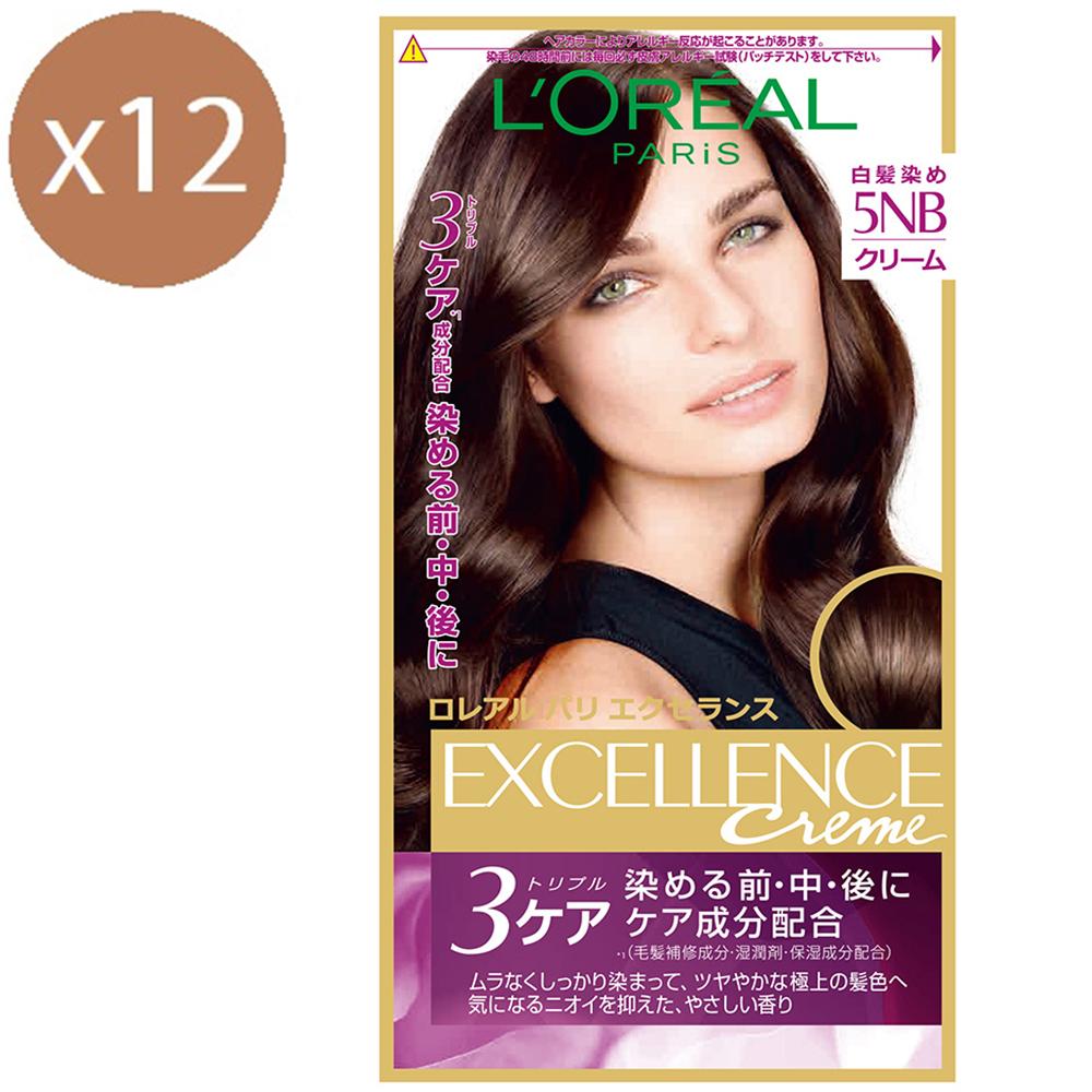 (買六送六)巴黎萊雅 優媚霜三重護髮雙管染髮霜 5NB 自然棕 148g
