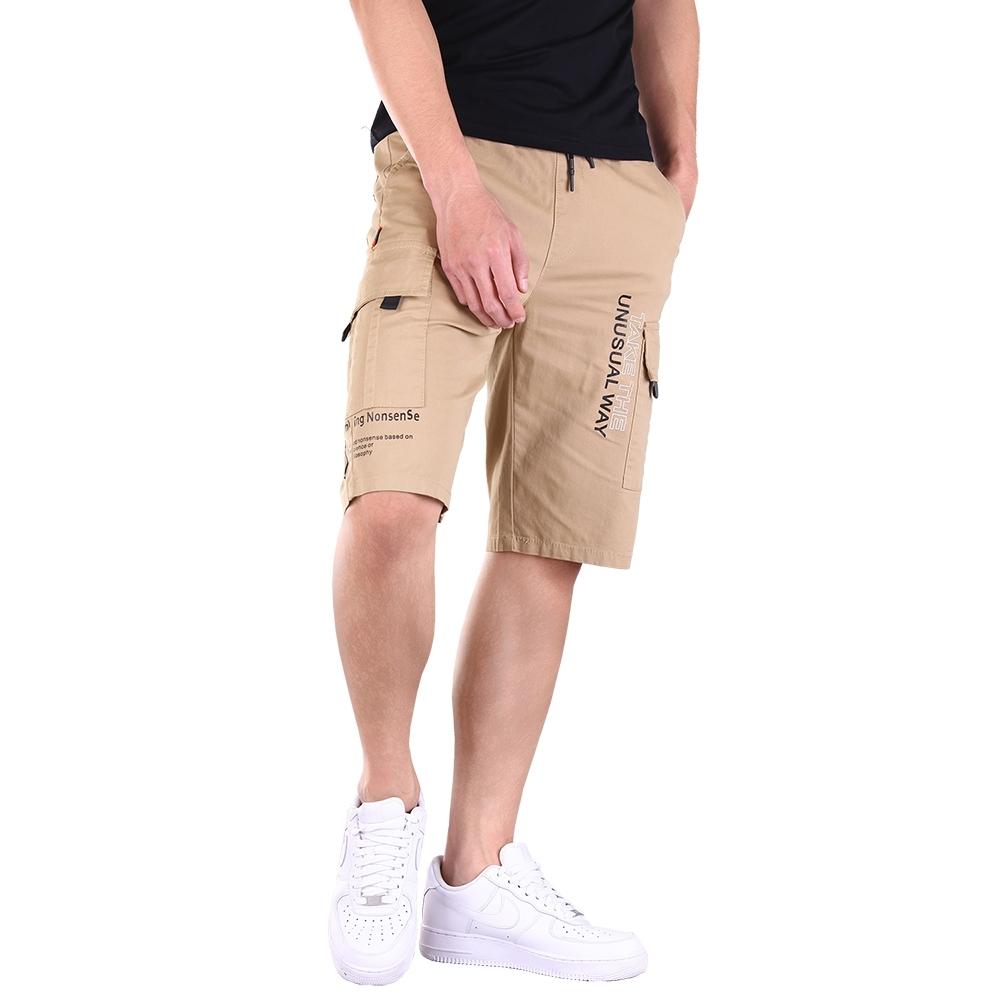 CS衣舖 加大尺碼 韓版 修身顯瘦 高彈力 伸縮腰圍 工作短褲 休閒褲 兩色 (卡其)