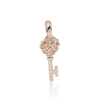 Pandora 潘朵拉 皇家愛心鑰匙玫瑰金 垂墜純銀墜飾