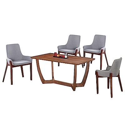 文創集 米森尼時尚5尺實木餐桌椅組合(餐桌+灰色布餐椅四張)-150x85x75cm免組