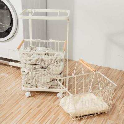 [結帳最高領9%回饋] 樂嫚妮 雙提籃方型洗衣籃收納車-白
