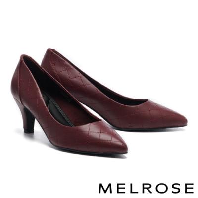高跟鞋 MELROSE 復刻時尚菱格紋造型尖頭高跟鞋-紅